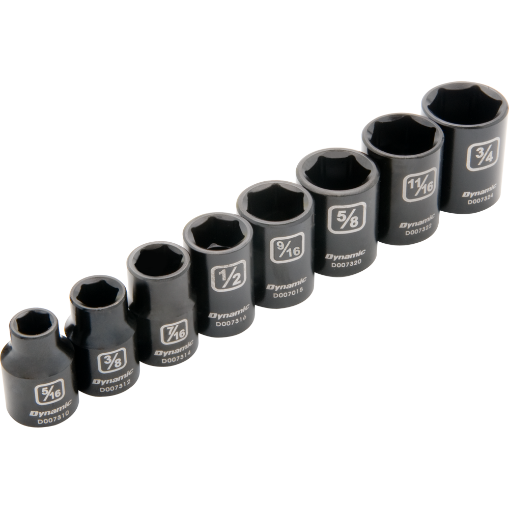 8 Piece 6 Point Standard SAE Impact Socket Set