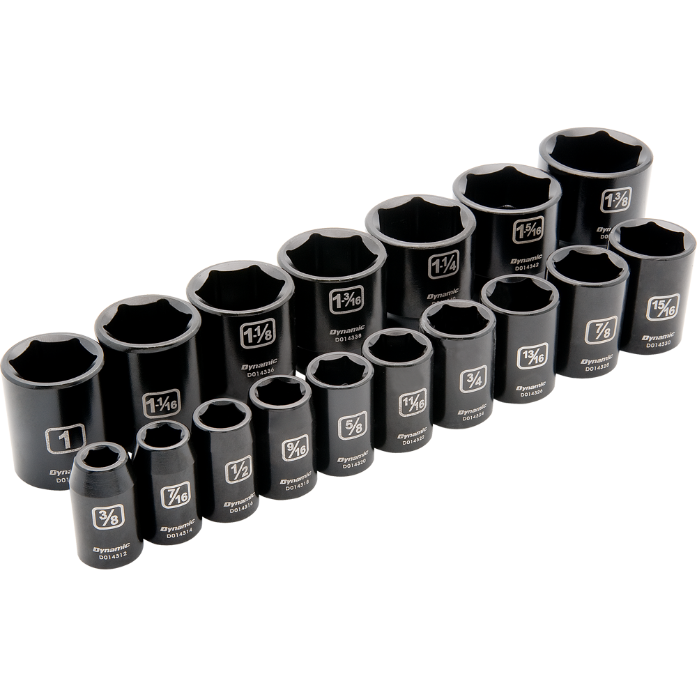 17 Piece 6 Point Standard Impact SAE Socket Set