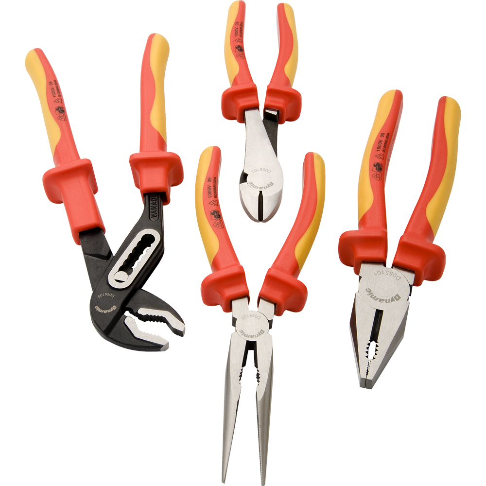 4 Piece Plier Set-Insulated Handles